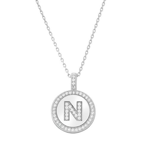 Sterling silver cubic zirconia initial pendant necklace aloadofball Choice Image