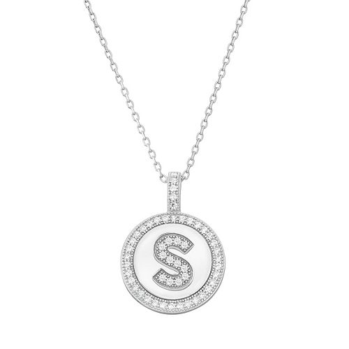Sterling Silver Cubic Zirconia Initial Pendant Necklace
