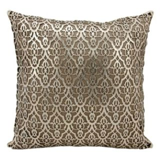 Mina Victory Couture Moorish Leaves Leather Throw Pillow