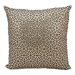 Mina Victory Couture Arabic Geometric Leather Throw Pillow