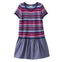Girls 4-6x Design 365 Fairisle Sweater Knit Chambray Dress