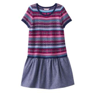 Girls 4-6x Design 365 Fairisle Sweater Knit Chambray Dress