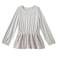 Toddler Girl Design 365 Criss-Cross Stitched Yoke Long Sleeve Tunic