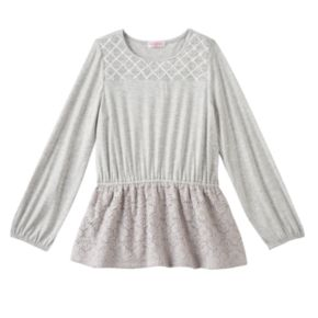 Toddler Girl Design 365 Criss-Cross Stitched Yoke Long Sleeve Tunic