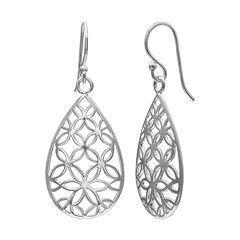 PRIMROSE Sterling Silver Flower Teardrop Earrings