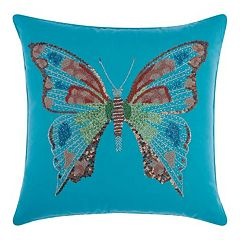Mina Victory Beaded Butterfly Indoor / Outdoor Throw Pillow