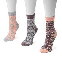 MUK LUKS 3-pk. Women's Holiday Crew Socks