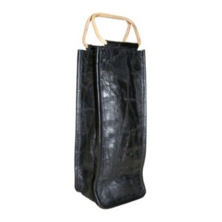 Park B. Smith Leather Collage Single Bottle Wine Bag