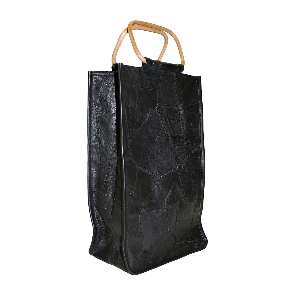 Park B. Smith Leather Collage Double Bottle Wine Bag
