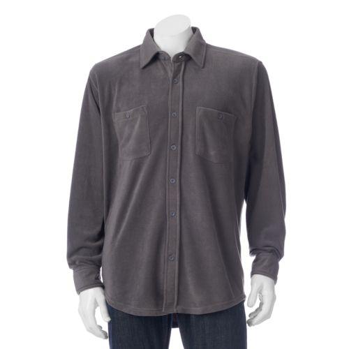Mens Victory Rugged Wear Microfleece Button Down Shirt Jacket