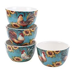Certified International Sunflower Rooster 4 pc Bowl Set