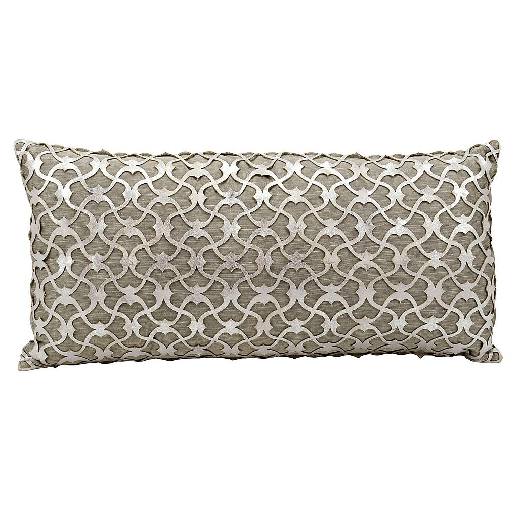 Mina Victory Couture Romantic Leather Oblong Throw Pillow
