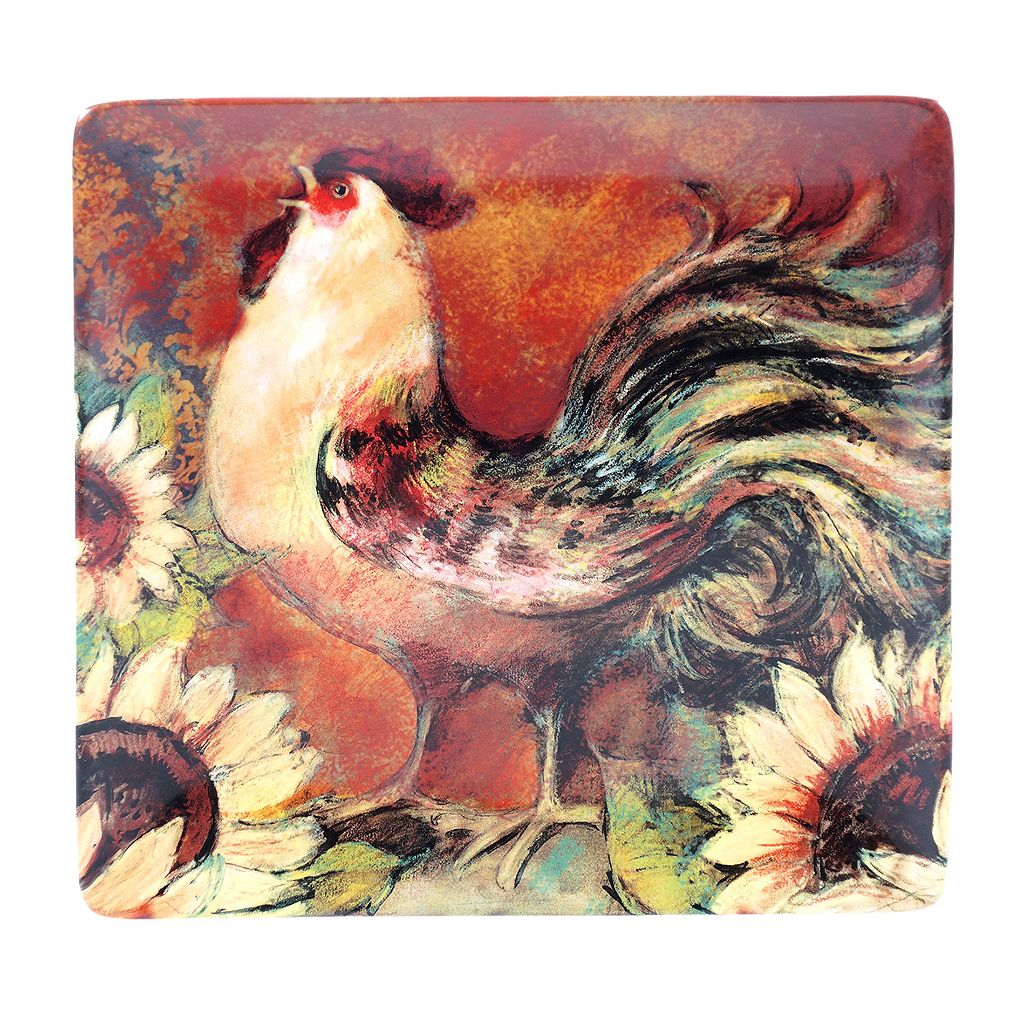 Certified International Sunflower Rooster Square Serving Platter