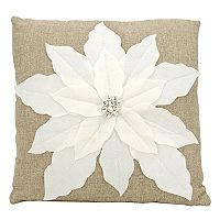 Mina Victory Home for the Holidays Poinsettia Throw Pillow