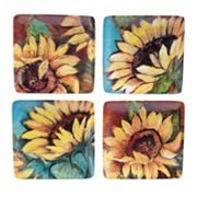Certified International Sunflower Rooster 4 pc Appetizer Plate Set