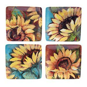 Certified International Sunflower Rooster 4-pc. Appetizer Plate Set