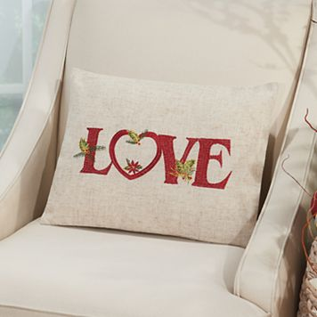 Mina Victory Home for the Holidays ''Love'' Oblong Throw Pillow