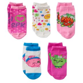 Girls 7-16 Shopkins 5-pk. No-Show Pattern Socks