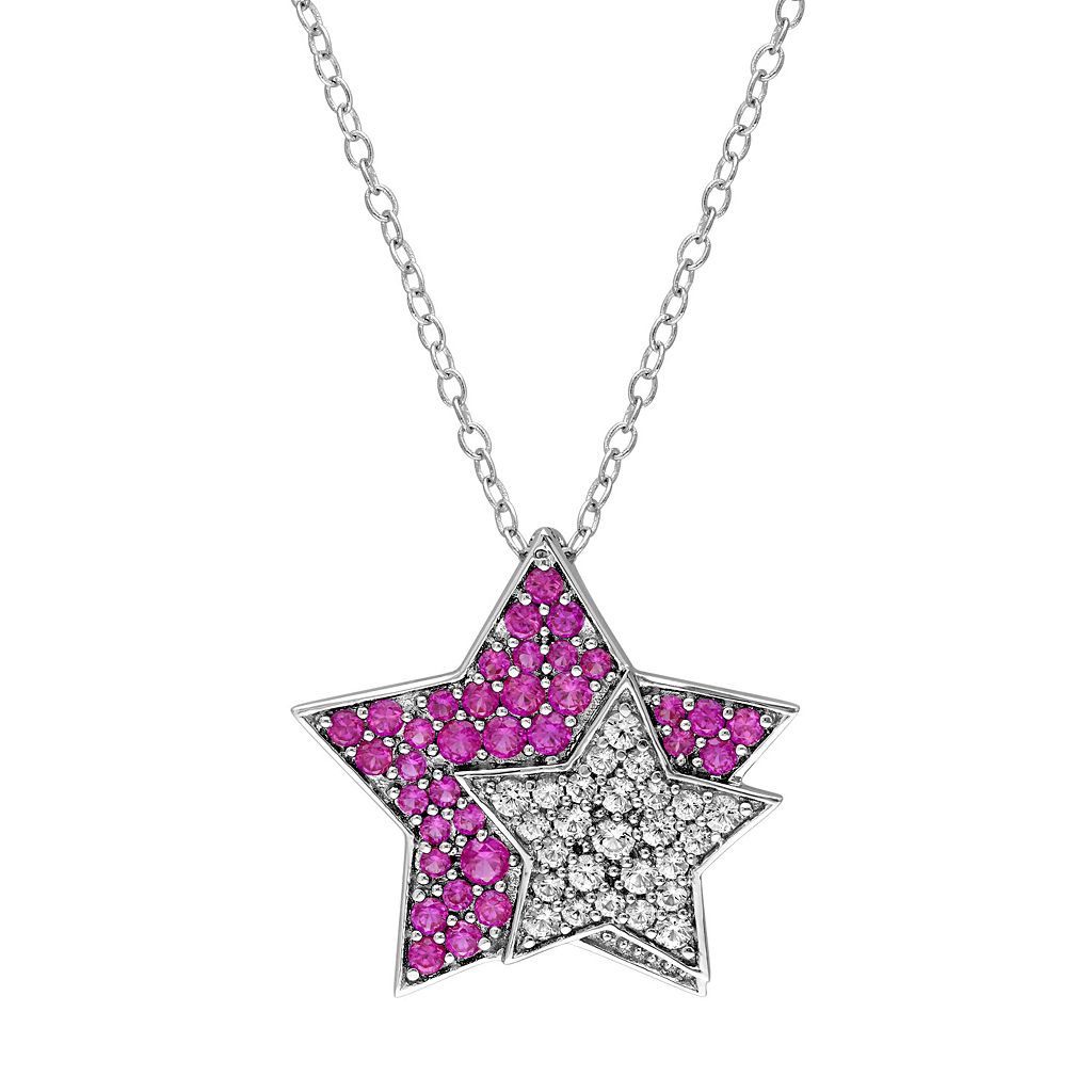 Sterling Silver Lab-Created Ruby & White Sapphire Star Pendant