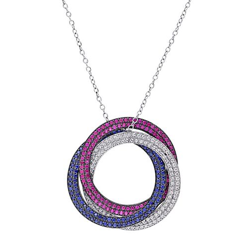 Sterling Silver Lab-Created Gemstone Patriotic Circle Pendant Necklace