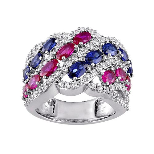 Sterling Silver Lab-Created Gemstone Patriotic Ring