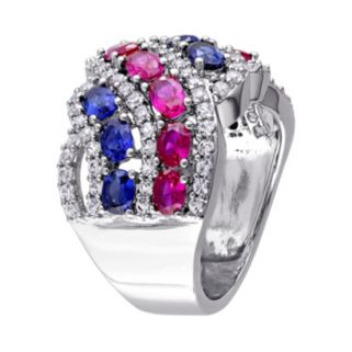 Sterling Silver Lab-Created Gemstone Patriotic Ring