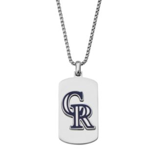 Men's Stainless Steel Colorado Rockies Dog Tag Necklace