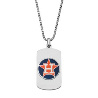 Men's Stainless Steel Houston Astros Dog Tag Necklace