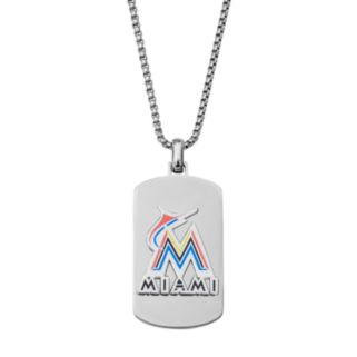Men's Stainless Steel Miami Marlins Dog Tag Necklace