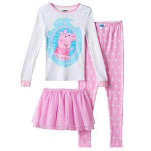 Girls 4-8 Peppa Pig 3-pc. Tutu Pajama Set