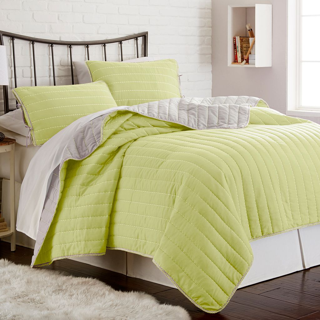 Whip Stitch Reversible 3-piece Coverlet Set