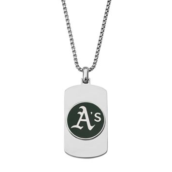 Men's Stainless Steel Oakland Athletics Dog Tag Necklace