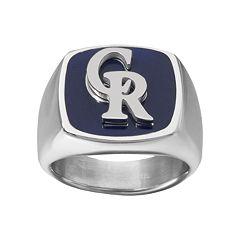 Men's Stainless Steel Colorado Rockies Ring