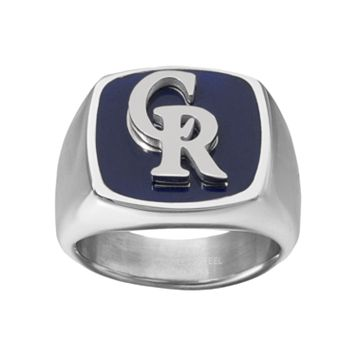Men's Stainless Steel Colorado Rockies Ring