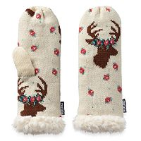 Women's MUK LUKS Deer Heavy-Knit Mittens