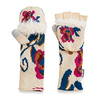 Women's MUK LUKS Roses Convertible Flip-Top Tech Mittens