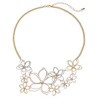 Mudd® Tri Tone Wire Flower Statement Necklace