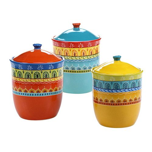 Certified International Valencia 3-pc. Ceramic Canister Set