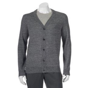Big & Tall Apt. 9 Modern-Fit Marled Merino Cardigan Sweater