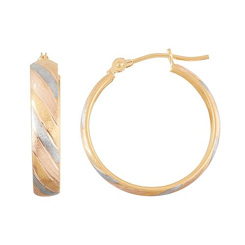 Tri-Tone 10k Gold Striped Hoop Earrings