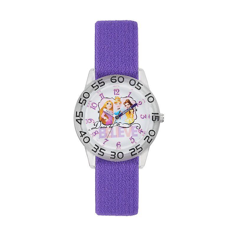 Disney Princess Cinderella, Rapunzel & Belle Kids' Time Teacher Watch, Women's, Purple