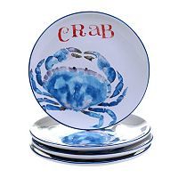 Certified International Beach House Kitchen Crab 4-pc. Dessert Plate Set