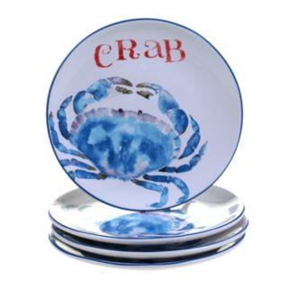 Certified International Beach House Kitchen Crab 4-pc. Dessert Plate Set