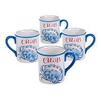 Certified International Beach House Kitchen Crab 4 pc Mug Set