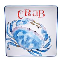 Certified International Beach House Kitchen Crab Square Serving Platter