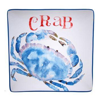 Certified International Beach House Kitchen Crab Square Serving Platter