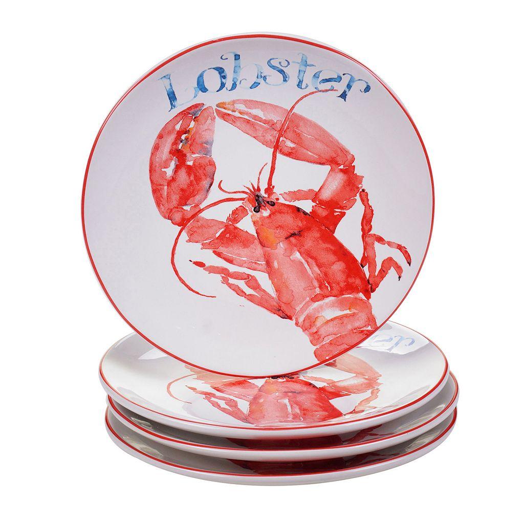 Certified International Beach House Lobster 4-pc. Dessert Plate Set