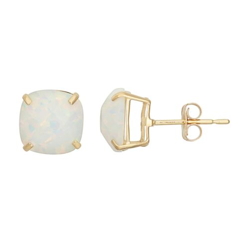 14k Gold Simulated White Opal Stud Earrings