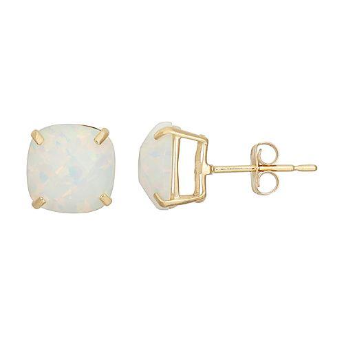 14k Gold Simulated White Opal Stud Earrings