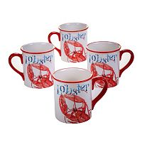 Certified International Beach House Lobster 4-pc. Coffee Mug Set
